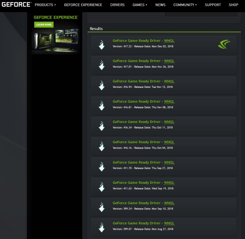 Station-Drivers - NVidia Geforce Graphics driver 417 01 & 22